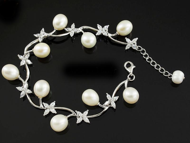 دستبند طلا ی زنجیری مرواریدی