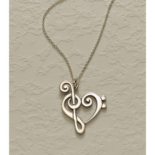 گردنبند نت موسیقی با طرح قلب