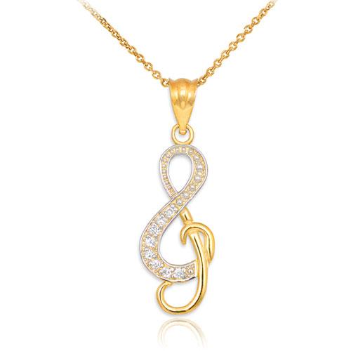 گردنبند نت موسیقی با طلای زرد