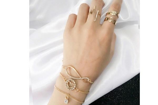 ست انگشتر و دستبند طلا زرد