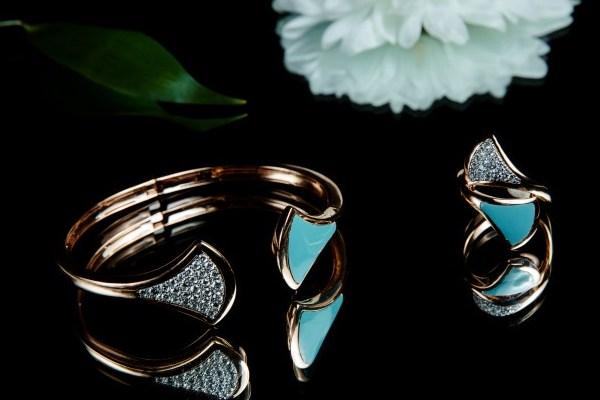 ست دستبند و انگشتر رزگلد