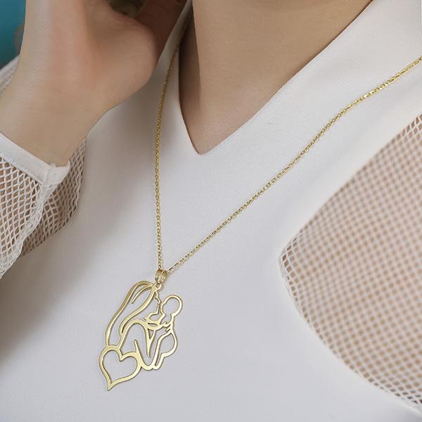 گردنبند طلا با طرح مادر و بچه
