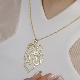 گردنبند طلا با طرح مادر و کودک